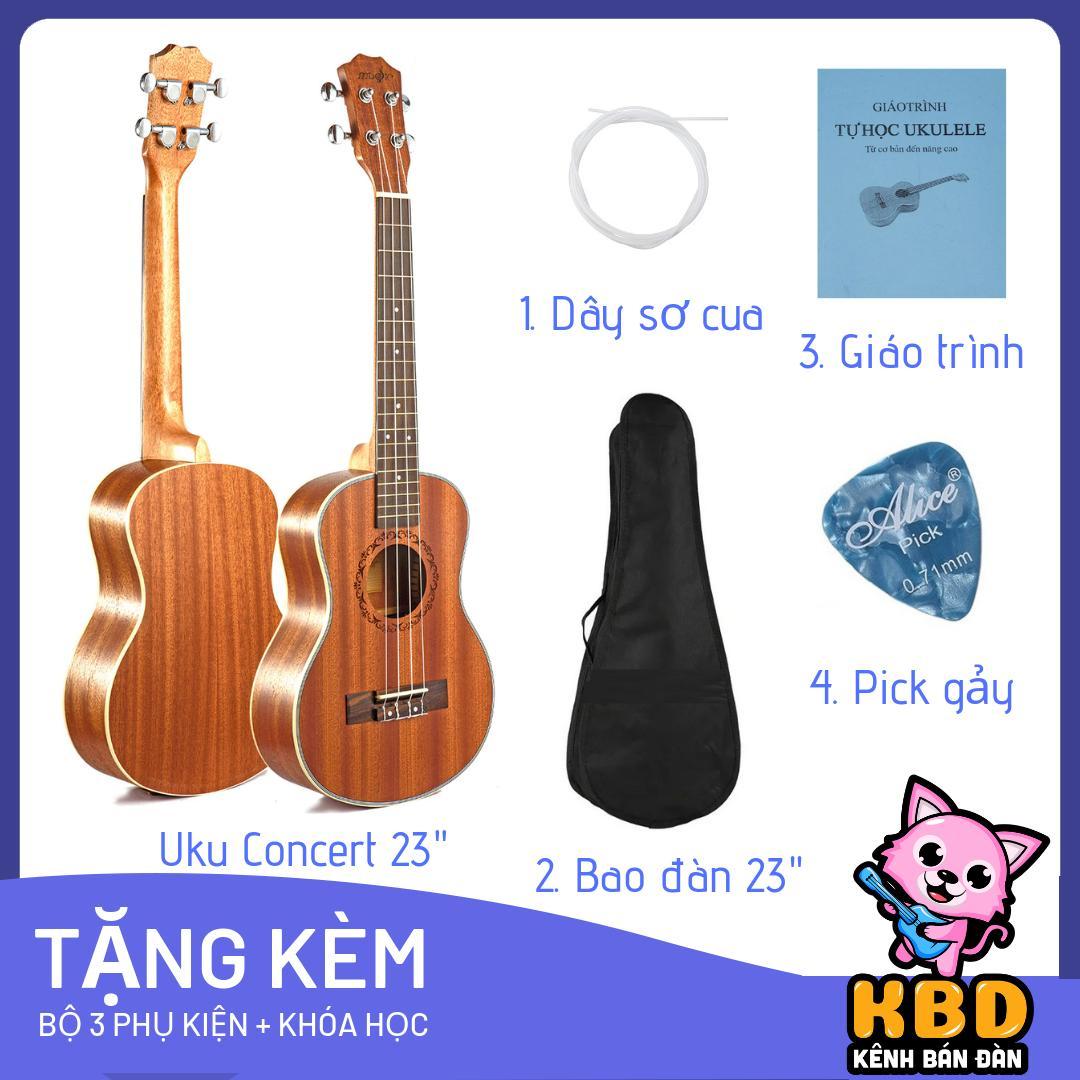 [TẶNG KÈM KHÓA HỌC] Đàn Ukulele Concert 23 tặng kèm bao đựng , phím gãy , giáo trình hướng dẫn cho người mới tập chơi