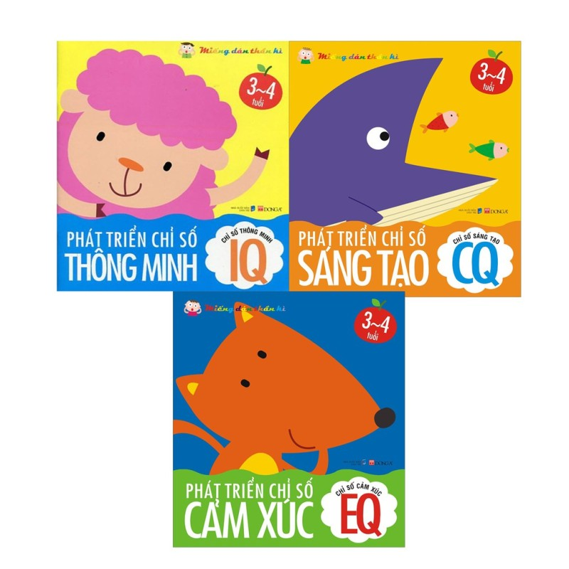 Sách Miếng dán thần kỳ - Phát Triển Chỉ Số Thông Minh IQ EQ CQ 3-4 Tuổi ( Bộ 3 cuốn)