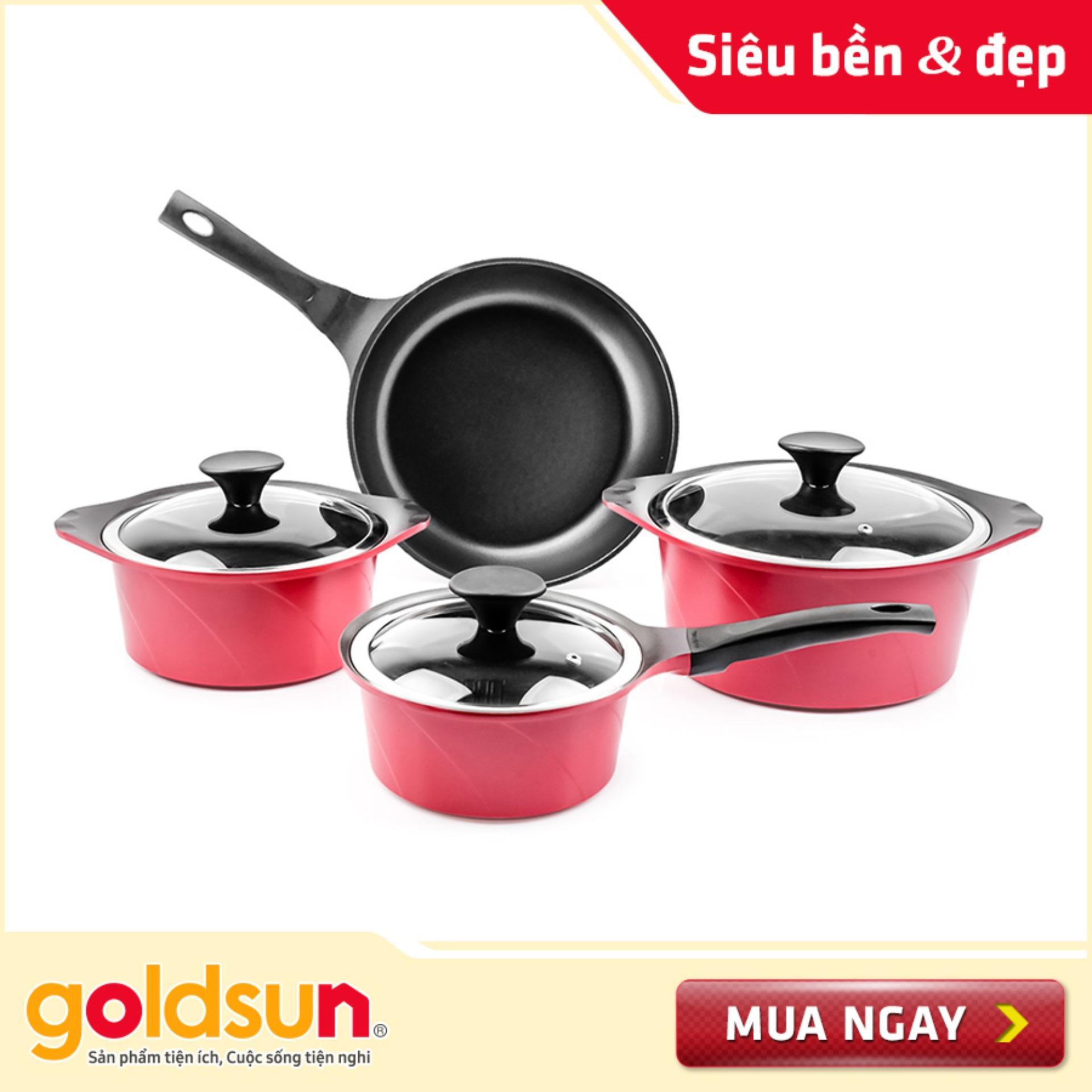 Bộ nồi nhôm đúc Goldsun GD07-4207AG-IH (Đỏ)