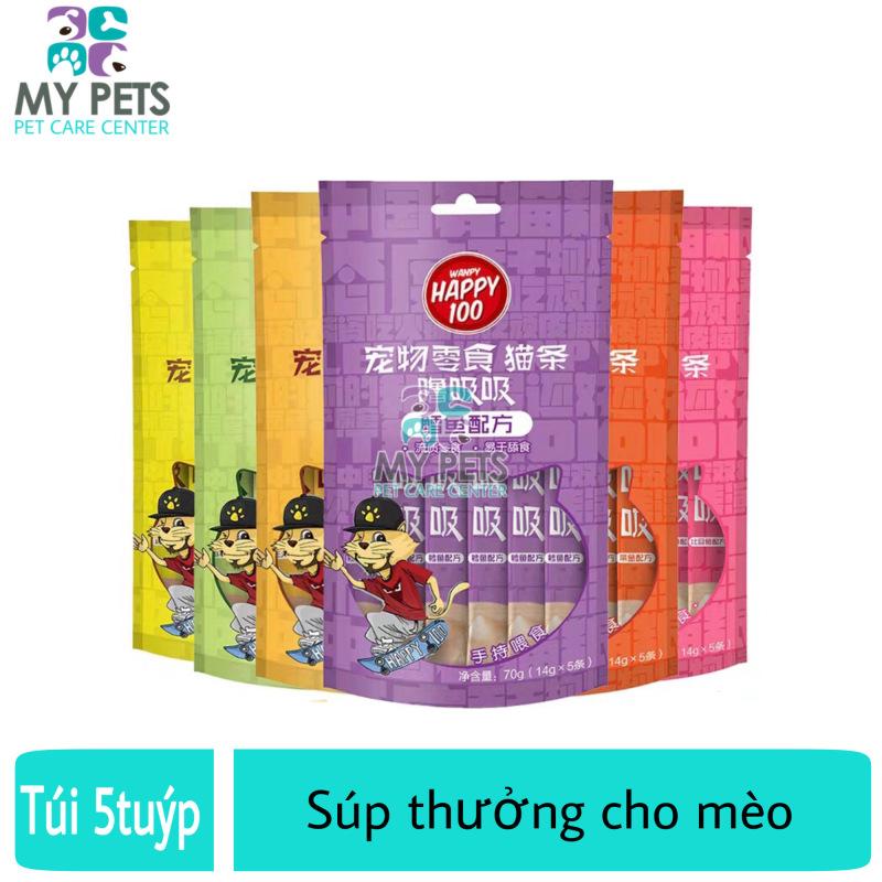 Súp thưởng cho mèo Wanpy Happy 100 - Gói 5 Thanh X 14g