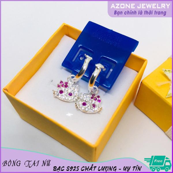 Giá bán Bông tai | Bông tai nữ | Bông tai nữ bạc trẻ em [FREESHIP] Bạc S925 Mặt Hello Kitty #AZBT011 - Azone 24h Khuyên nụ Hoa tai