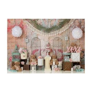 Vải Phông Nền Chụp Ảnh Công Chúa Gấu Nhỏ Sân Vườn Màu Hồng 7X5Ft, Cho Ảnh Gia Đình thumbnail
