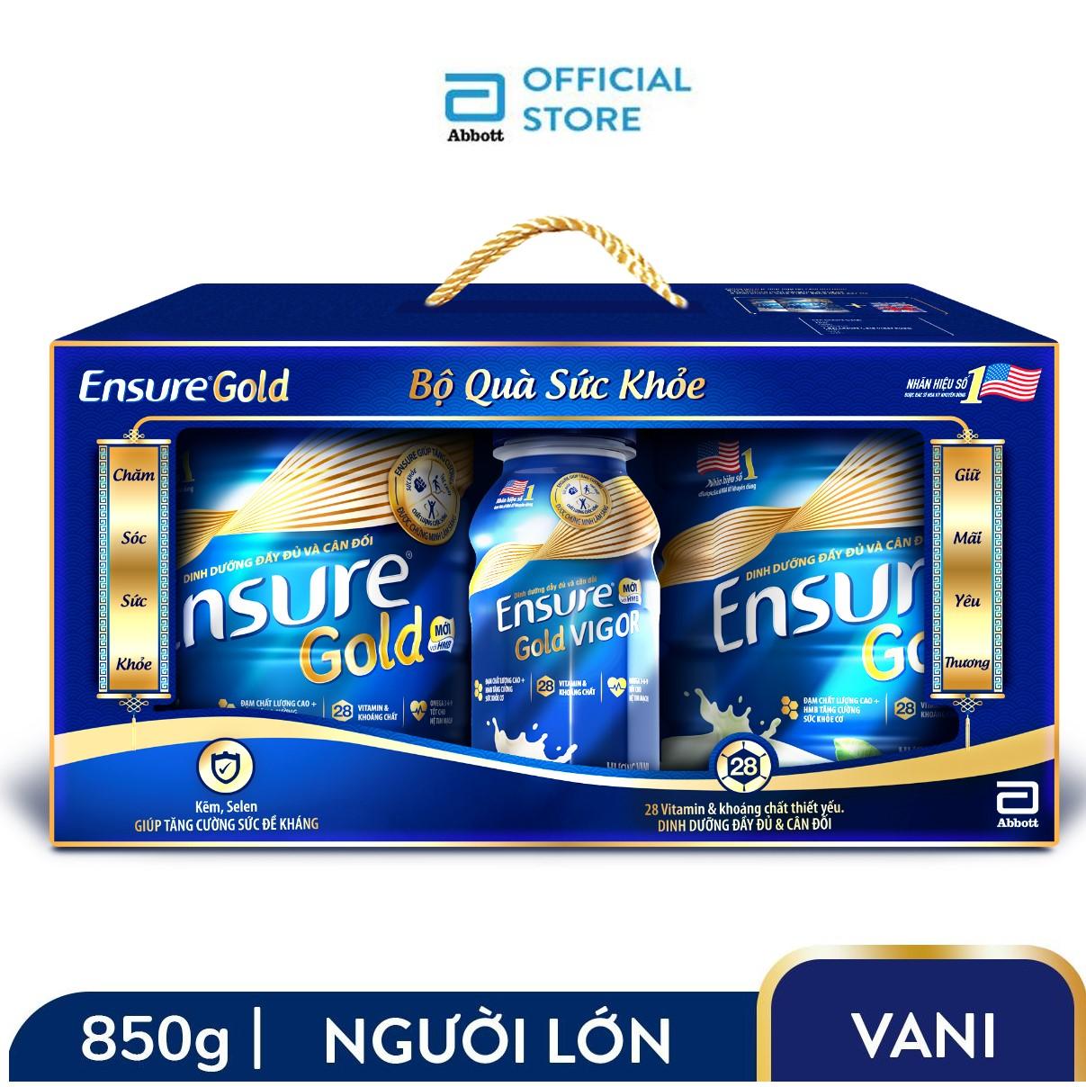 """Bộ 2 lon sữa bột Ensure Gold Hương Vani 850g Tặng 2 Ensure Vigor Gold 237ml - """"Bao bì thay đổi theo từng đợt nhập hàng"""""""