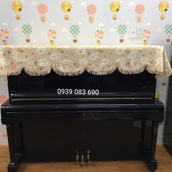 KHĂN PHỦ ĐÀN PIANO CƠ,MÀU VÀNG HỌA TIẾT HOA SEN