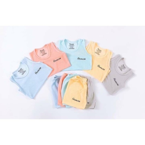 Bộ ba lỗ vải tăm tre hãng Avaslew cho bé trai bé gái sơ sinh 3-13kg mềm mát nhiều màu lựa chọn - BO73