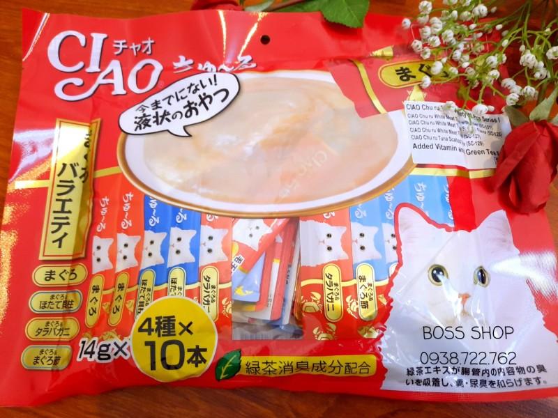 Soup thưởng Ciao Churu Thái Lan 14g x 40 thanh cho mèo mix vị cá