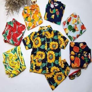Đồ Bộ Đi biển cho gia đình - đồ bộ mặt nhà hình trái cây - hoa quả - Đủ size từ 35-85kg cho nam lẫn nữ thumbnail