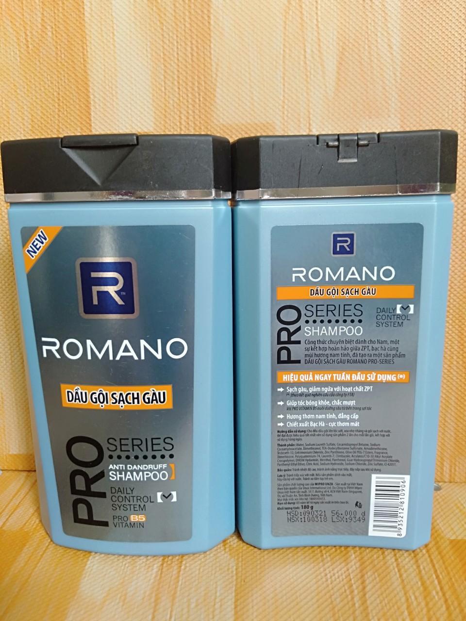 Set 2 Dầu gội Hương nước hoa gội sạch gàu Romano 180 gr