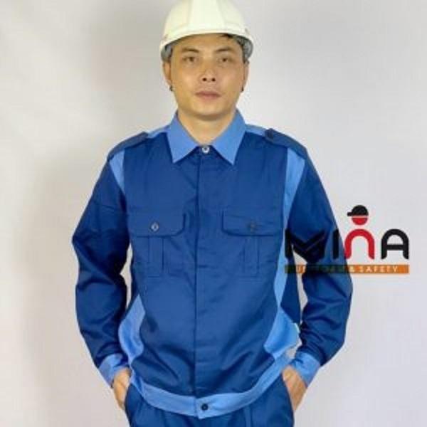 Áo Bảo Hộ Lao Động - Xanh Phối Xanh - Vải Kaki V31 (Đẹp)