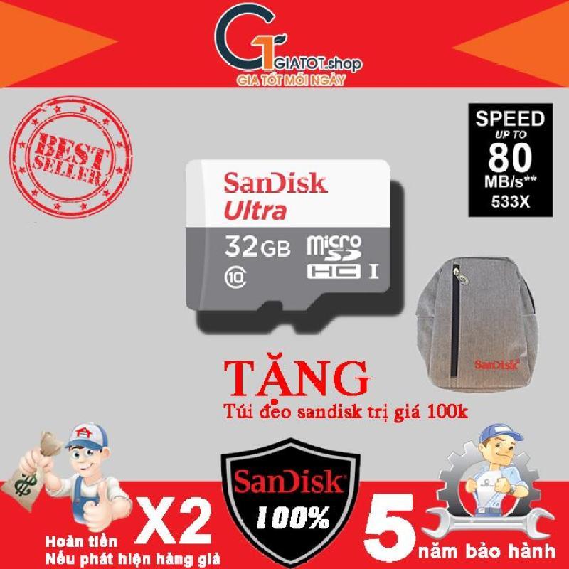 Thẻ nhớ 32G SanDisk Ultra Class 10 80Mb/s tặng Túi Sandisk