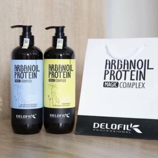 Bộ Dầu Gội Xả Delofil Argan Oil Protein Cho Tóc Gàu Dầu Phục Hồi  Mềm Mượt 800ml