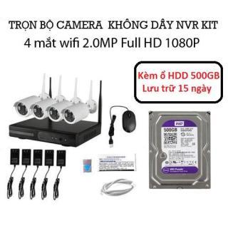 Trọn bộ đầu ghi NVR kit wifi 4 mắt camera wifi 2.0M 1080P Kèm ổ HDD 500GB thumbnail