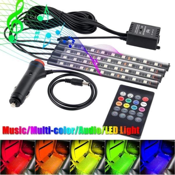 Bộ đèn led chiếu gầm ghế 12V kèm remote điều khiển đổi màu cảm biến thông minh theo tiếng nhạc cực sang trọng (Loại 12 bóng led) có video sản phẩm