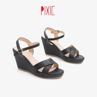 Giày Sandal Đế Xuồng 7cm Quai Chéo Màu Đen Pixie P207 thumbnail