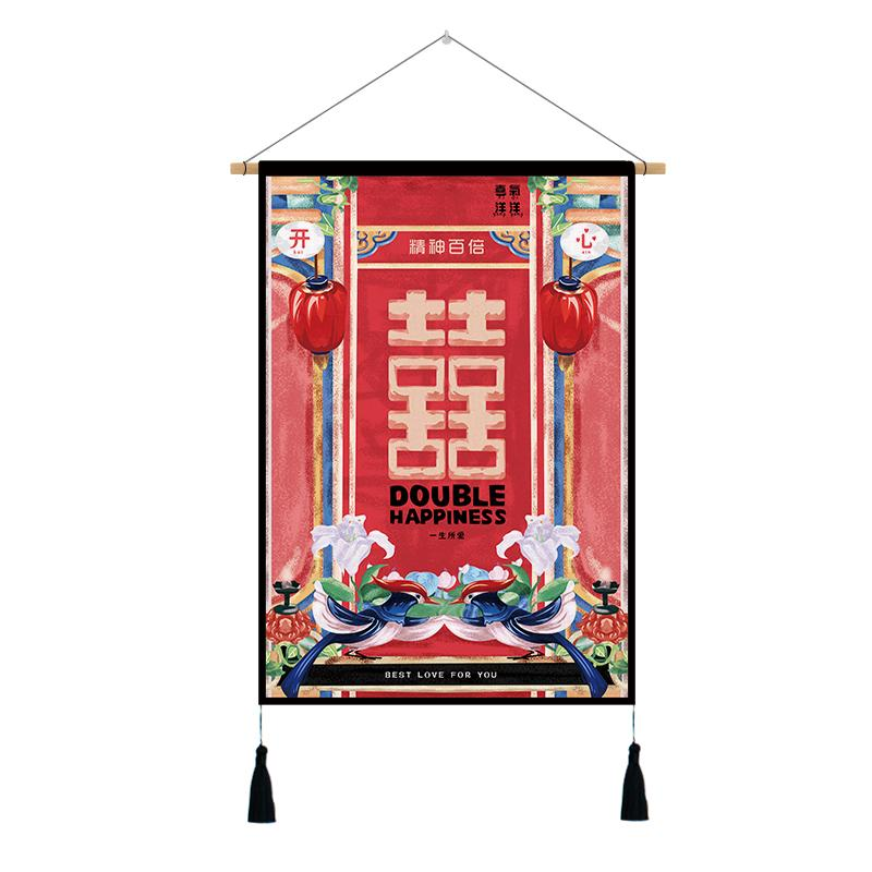 Personalized & Creative Chinese Style Fabric Paintings Hallway Entrance Wall Decoration Electric Meter Box Occlusion Painting Sofa Background Cloth