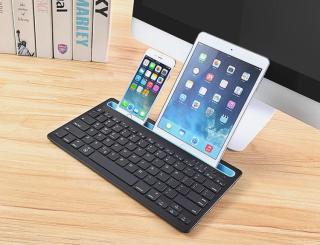 Bàn phím không dây 2 kênh Bluetooth có khe cắm - Hỗ trợ sử dụng 2 thiết bị Điện thoại và Máy Tính Bảng cùng 1 lúc thumbnail