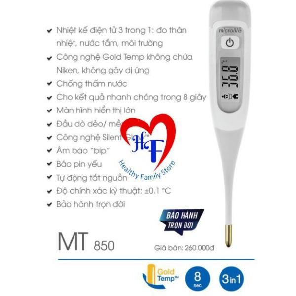 Nhiệt kế điện tử MT850 Dạng Bút ( Đo thân nhiệt, nước tắm, môi trường- báo sốt 8s)