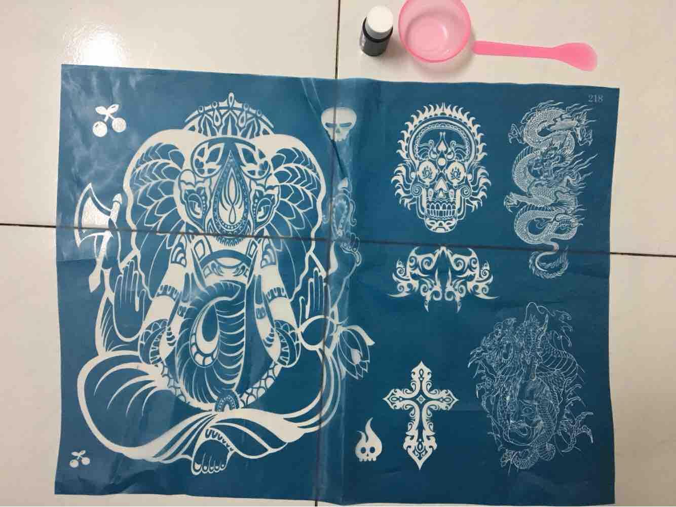 1 Tấm khung xăm henna hoặc Inkbox size to kín lưng Tặng kèm Mực henna và dụng cụ nhập khẩu