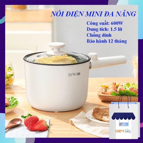 Nồi điện mini đa năng loại 1, có thể nấu lẩu, nấu cơm, chiên, xào, hấp, nấu cháo, nồi lẩu mini chống dính cao cấp bảo hành 1 năm