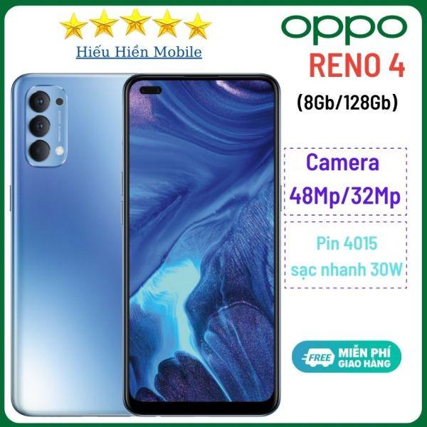 Điện thoại Oppo Reno4-màn hình AMOLED 6.4, Androi 10,(Ram 8Gb-Rom 128Gb)-camera trước 48,Camera sau 32, CPU:Snapdragon 720G 8 nhân-pin 4000 mAh-sạc nhanh-Hiếu Hiền-đt oppo reno4-Hàng chính hãng