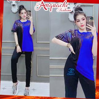 Đồ bộ mặc nhà đẹp, đồ bộ nữ thun cotton co gian 4 chiều, chất vải mềm mại, quần dài tay ngắn DB11 - Anquachi thumbnail