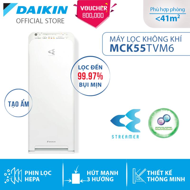 Máy Lọc không khí Daikin MCK55TVM6 -  Tạo ẩm - Phù hợp phòng 41m2 - Công nghê Streamer độc quyền - Phin lọc tĩnh điện Hepa - Hút gió 3 hướng - Vận hành êm ái - Thiết kế nhỏ gọn - Hàng chính hãng
