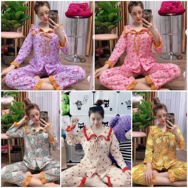 Đồ bộ pijama tay dài vải kate lụa mềm mịn NHIỀU MẪU freesize dưới 57kg