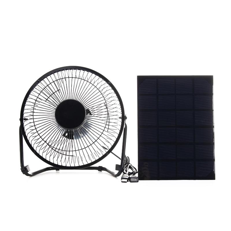 Giá Black Solar Panel Powered +USB 5W metal Fan 8Inch Cooling Ventilation Car Cooling Fan for Outdoor Traveling Fishing Home Office