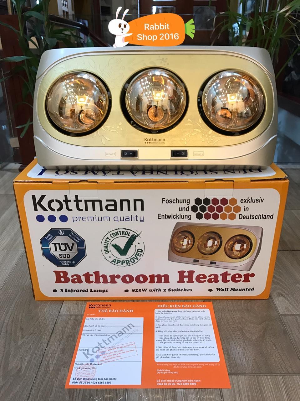 Đèn sưởi nhà tắm Kottmann 3 bóng - công nghệ Đức