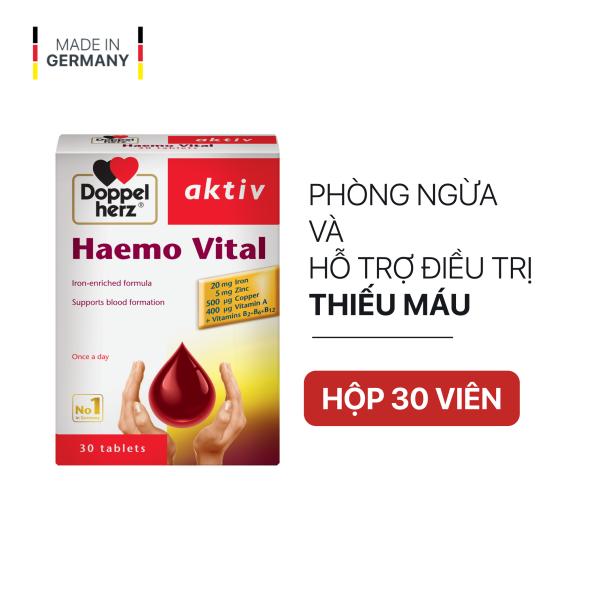 Viên uống bổ sung sắt và vitamin DoppelHerz Aktiv Haemo Vital (Hộp 30 viên) cao cấp