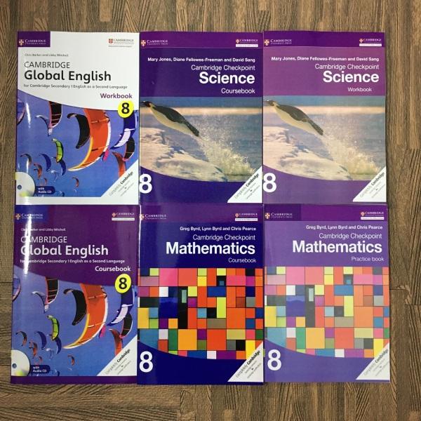 Mua Trọn Bộ 6 quyển Cambridge 8 Science, Mathematics, Global English  coursebook và practice book Sách gia công keo gáy - Hanoi bookstore