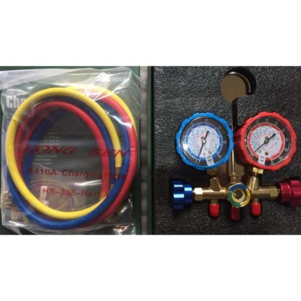 Đồng hồ nạp gas đôi hãng HongSen MODEL HS 536 KÈM 3 dây nạp gas 536 C