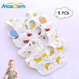 NiceBorn 5PCS Baby Bibs Cartoon Print Saliva Towel Infant Nursing Cloths 8 Layers Pure Cotton Bibs Baby Burp Feeding Bibs Thicken Gauze Baby Feeding Bibs Apron 360° Rotatable Bibs