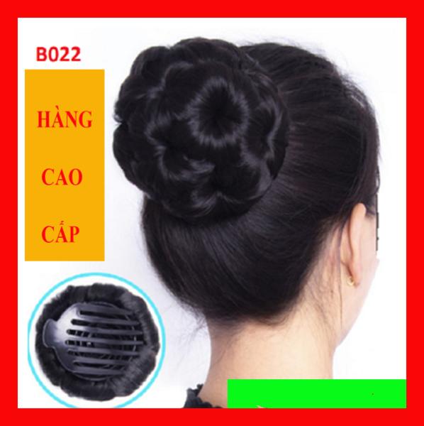 Búi tóc giả trung niên cao cấp dầy đẹp, kẹp tóc giả cổ trang BÚI HOA KHÔNG ĐÁ giá rẻ