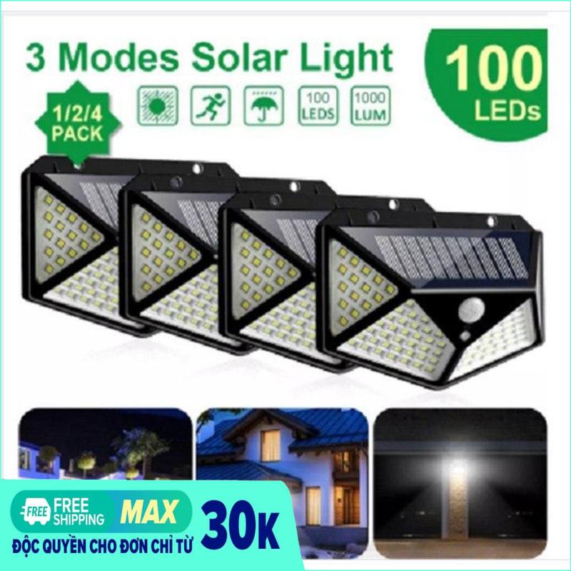 Đèn led năng lượng mặt trời 100 led cảm ứng chuyển động 4 mặt. đèn 100 led - Cam kết chất lượng