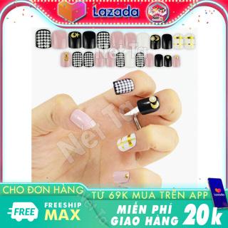 Móng tay giả bộ 24 móng tay đẹp kèm theo keo dán móng tiện lợi cho bạn bộ nail xinh, nail đẹp màu đen phối nhiều màu Nét Ta thumbnail