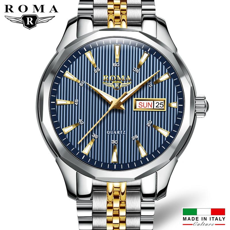 Nơi bán Đồng hồ Nam ROMA ITALY Kính tráng Sapphire – Dây CHARM đúc đặt đẳng cấp, Thương Hiệu ĐỨC - Khóa Bướm Cao Cấp