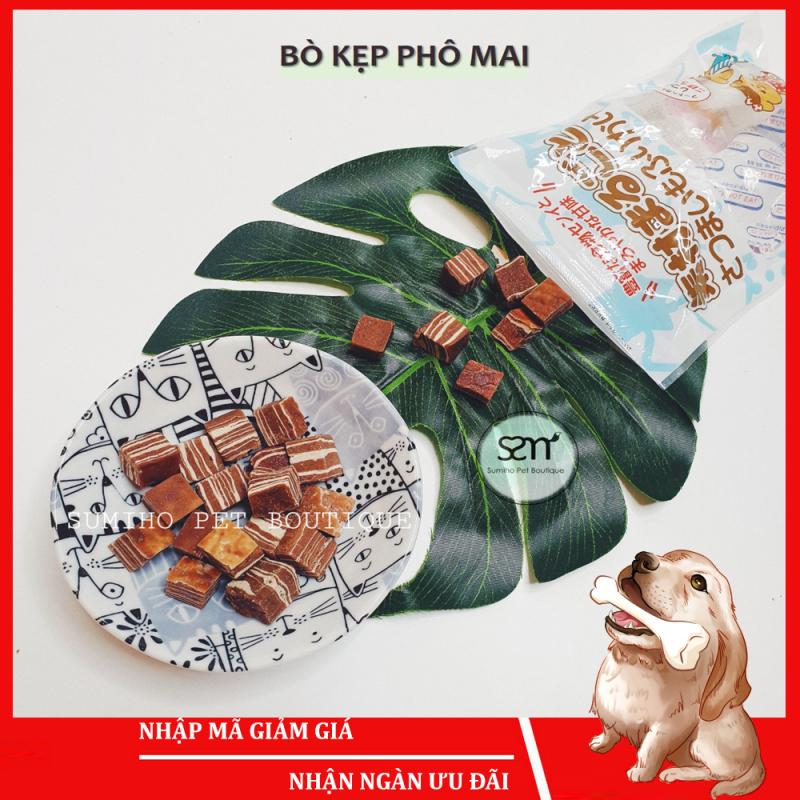 Bánh thưởng cho chó Sumiho (Bò kẹp phô mai) (100gr/túi) Đồ ăn cho chó mèo thú cưng