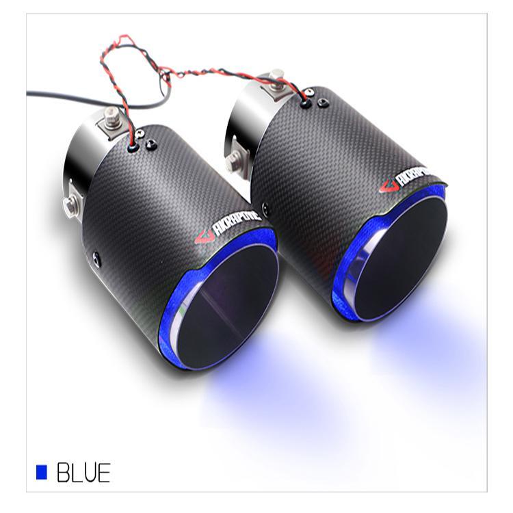 Ống xả (pô) ô tô sợi carbon đèn LED (đèn Xanh) phát sáng cao cấp (1 Chiếc)