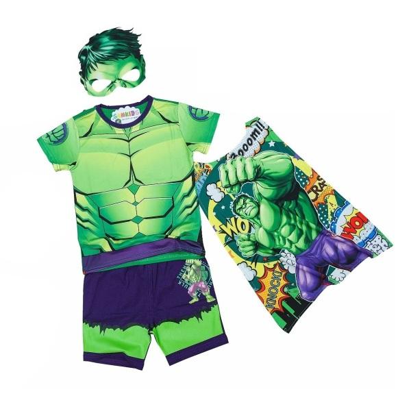 Nơi bán Bộ quần áo siêu nhân khổng lồ xanh kèm áo choàng và mặt nạ - Bộ đồ hoá trang siêu nhân tay ngắn TN39