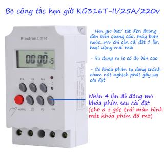 Timer hẹn giờ điện tử KG316 T-II Công suất 25A công tắc hẹn giờ bật tắt điện tự động thumbnail