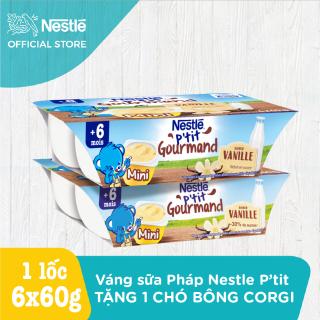 Bộ 2 lốc 6 hộp Váng sữa Nestlé P tit Gourmand vị Vani (2x6x60g) thumbnail