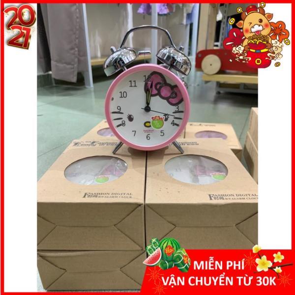 [HCM]Đồng hồ báo thức chuông đôi reo to mạ inox cơ học 17cm x 12cm DH09 Chichi hình Hello Kitty màu sắc dễ thương thích hợp cho các bé và trang trí phòng ngủ bán chạy