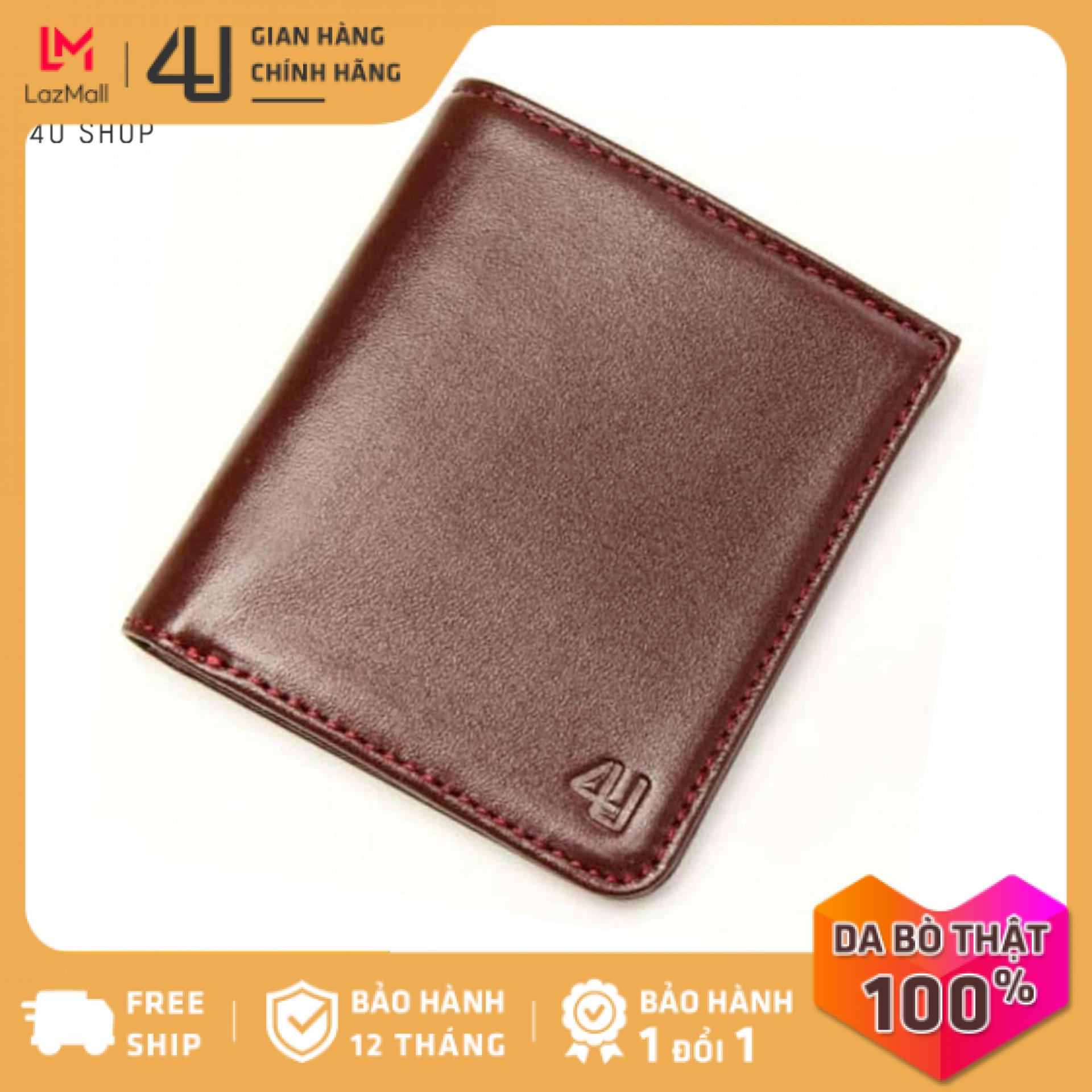 Bóp ví nam da bò thật 4U cao cấp dáng đứng form nhỏ, có nhiều ngăn đựng tiền và thẻ FB199 (đen-nâu-xanh dương)