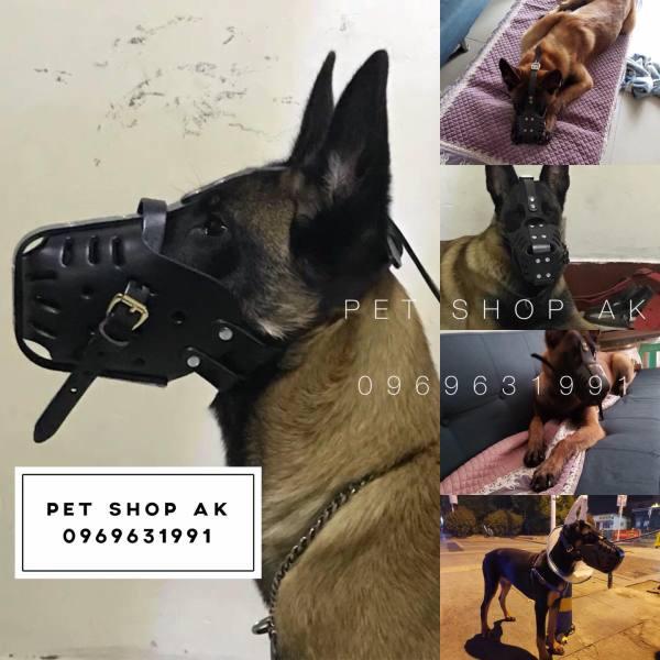 Rọ mõm da bò cho chó quả đấm độc , dụng cụ huấn luyện chó tập