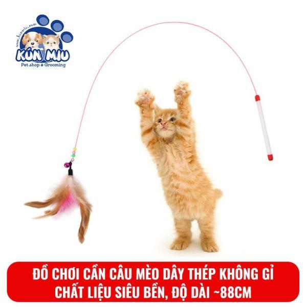 Cần câu mèo dây thép không gỉ gắn lông vũ và chuông Kún Miu
