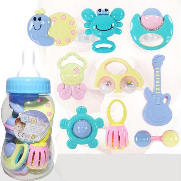 Bộ xúc xắc bình sữa 9 món Baby Toys cho bé thỏa sức vui chơi, đồ chư cho bé, bộ xúc xắc cho bé, bộ bình sữa xúc xắc cho bé