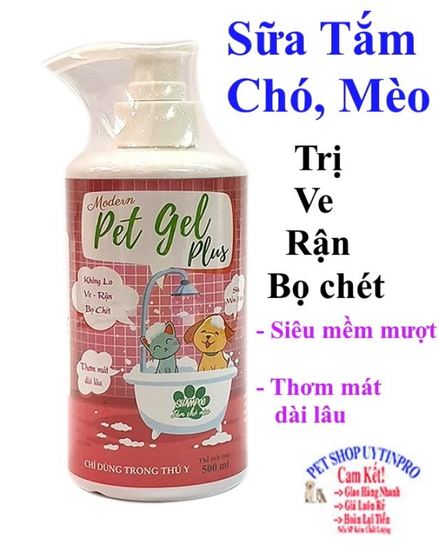 SỮA TẮM TRỊ VE RẬN BỌ CHÉT CHO THÚ CƯNG CHÓ MÈO Pet Gel Plus Chai 500ml Thương hiệu Thái Lan