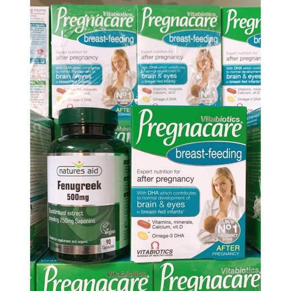 [Auth] Combo lợi sữa cỏ cà ri Fenugreek & Vitamin Pregnacare breast feeding chính hãng UK nhập khẩu