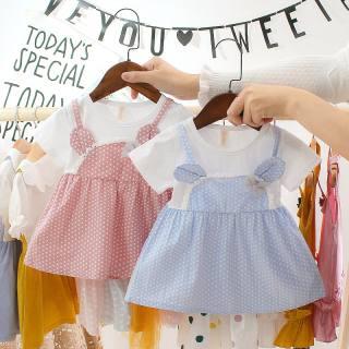 KTtrade Đầm Bé Gái Mùa Hè Váy Ngọt Ngào Đầm Vải Tuyn Nơ Cho Trẻ Sơ Sinh Chấm Bi Ngọt Ngào